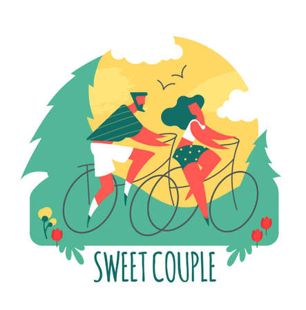 Couple on bicycles. Man and girl. Sport and vacation travel. Stylised people.  イラスト・ベクター素材
