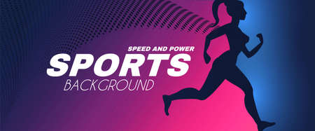 Sport background with running girl silhouette with cloak and light effects.