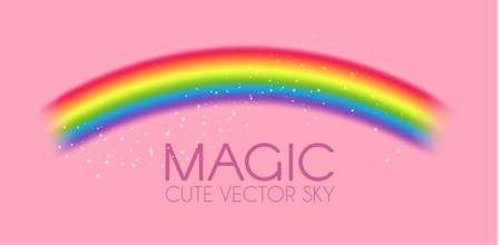 Cute magic rainbow on pink background. Fantasy and fairy tale background. Little girl design. Ilustração