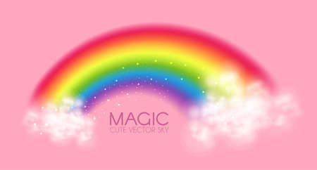 Cute magic rainbow with clouds on pink background. Fantasy and fairy tale background. Little girl design.