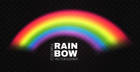 Rainbow arch on transparent background. Realistic spectrum color effect.