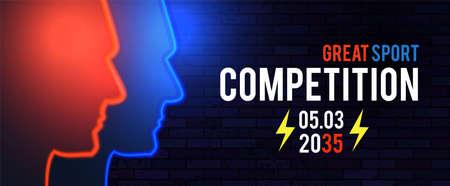 Versus. Sport competition template with men s heads silhouette and light. Team design. Ilustração