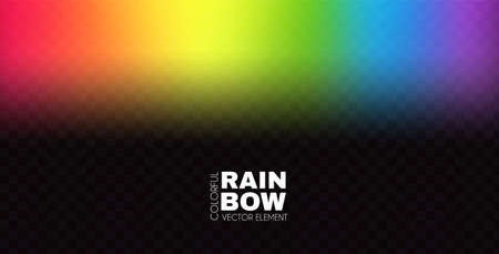 Rainbow on transparent background. Realistic spectrum color effect.