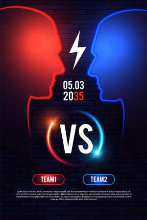 Versus. Sport competition template with men's heads silhouette and light. Team design. Ilustração