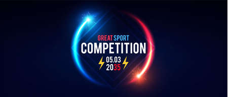 Sport competition shining banner with circle light effect.