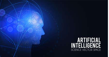 Artificial Intelligence. Big data web banner design. Alien mind. Futuristic technology sci fi background.