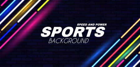Abstract sport background with neon dynamic light effect. Ilustração