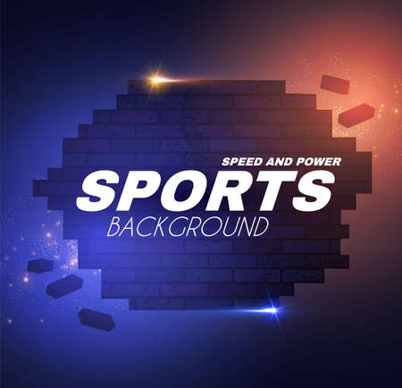 Abstract sport background with brocken brick wall and motion light effects.