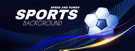 Soccer sport background. 3D realistic ball with light effect.
