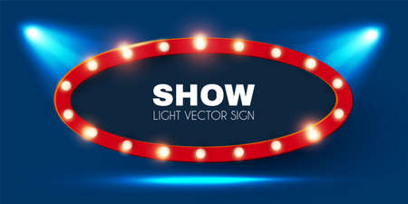 Shining retro light sing. Vintage banner with light bulbs. Cinema, theatre, ad, show and casino design.