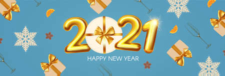 Happy New 2021 Year Party poster template with 3D realistic text, champagne glasses and gift box. Festive header design. Christmas flyer template. Ilustração