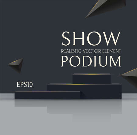 3D podium with soft reflection and flying triangles. Realistic minimal empty scene. Showcase and shelf. Trendy black and white empty stage. Ilustração