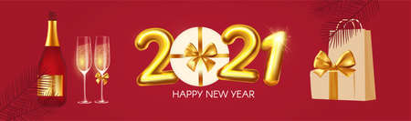 Happy New 2021 Year poster template with text, champagne glasses and gift box. Festive header design. Christmas flyer template.