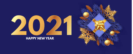 Happy New 2021 Year design template with gifts, fir tree branches, glossy golden balls and gold snowflakes Ilustração