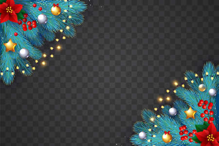 Christmas Realistic shining holiday design with fir tree branches, girts, toys, cones, red berries, stars and lights. Ilustração