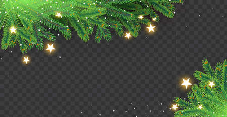 Christmas ralistic fir tree branches, stars and lights.