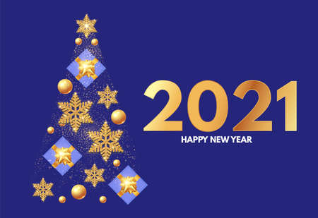 Christmas tree. Happy New 2021 Year template with gifts, glossy golden balls, elegant gold snowflakes and lettering.