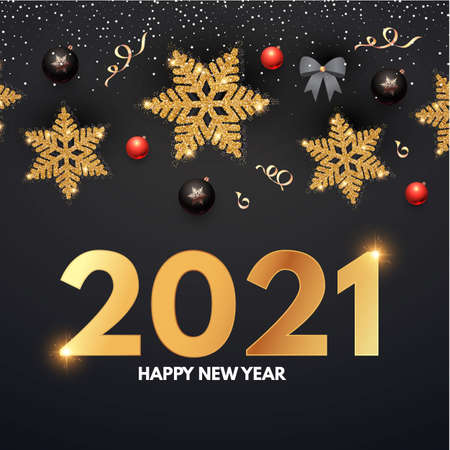 2021 Happy New Year Elegant holiday decoration with gold snowflakes, red and black balls, year numbre and lights.