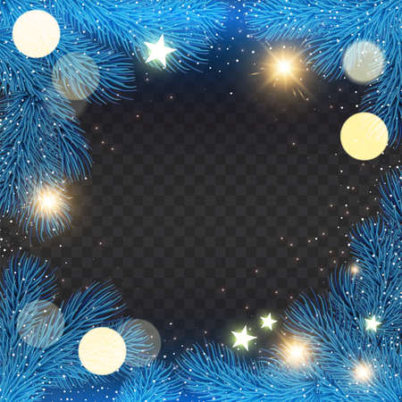 Christmas Shining holiday background with fir tree branches, stars and lights.