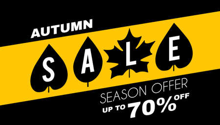 Autumn sale minimalistic poster template with leaves. Season offer.