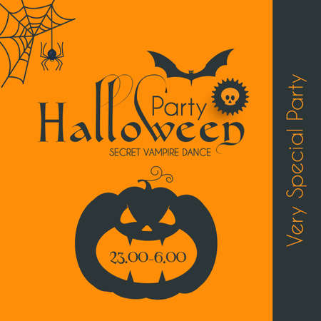 Halloween Party Silhuette Design Template with Pumpkin, Cobweb, Spider and Bat