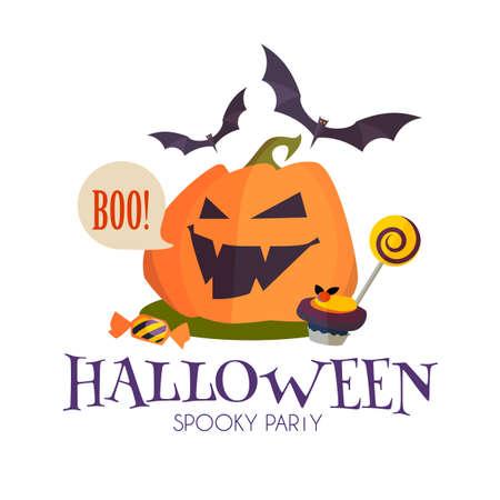 Happy Halloween Sale Design Template with Smilling Pumplin, Candy and Bats, Ilustração