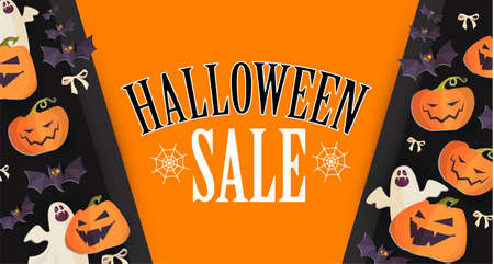 Halloween Sale Design Template with Smilling Pumplins, Ghosts and Bats.