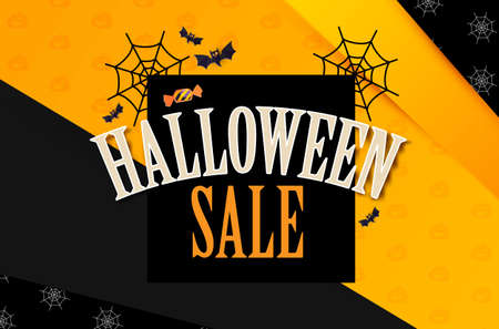 Halloween Sale Design Template with Cobweb, Candy and Bats. Paper Art Background. Ilustração