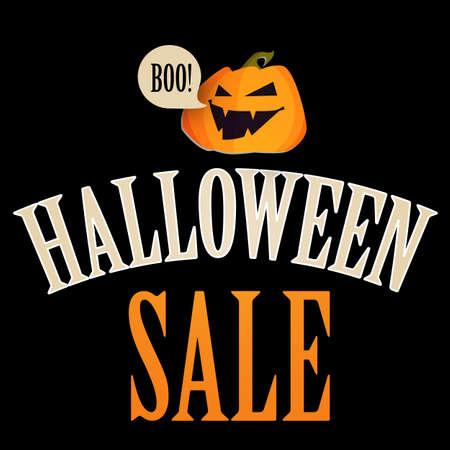 Happy Halloween Sale Design Template with Smilling Pumplin.