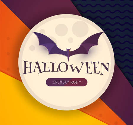Halloween Party Design Template with Moon Light and Bat.