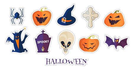 Halloween Cartoon Elements Set. Stickers spooky design.