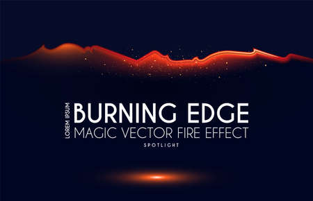 Burning ragged edge shining design. Fire and light effect.