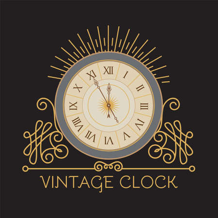 Antique clock with elegant frame. Old fashioned design element. Vintage watch.