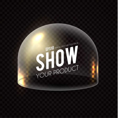 Glass Dome on transparent background with gold light effect. Illustration