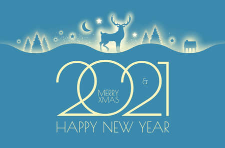 Merry Christmas amd happy new 2021 year shining silhouettes design template with fir trees, deer, gifts and snow. Soft light effect.