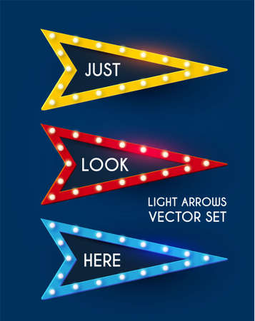 Shining retro light sing set. Vintage banner with light bulbs. Cinema, theatre, ad, show and casino design.