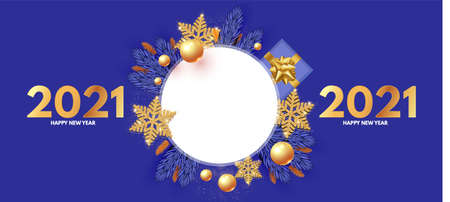 Happy New 2021 Year design template with circle banner., fts, fir tree branches, glossy golden balls and gold snowflakes Vektoros illusztráció