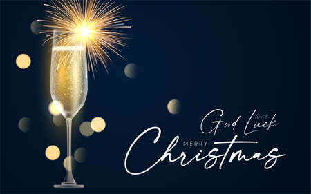 Shining champagne. Merry Christmas and Happy New Year design template with gold champagne glasses, light and bokeh effect  イラスト・ベクター素材