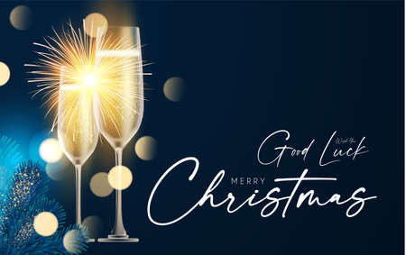 Shining champagne. Merry Christmas and Happy New Year design template with gold champagne glasses, light, fir tree branches and bokeh effect  イラスト・ベクター素材