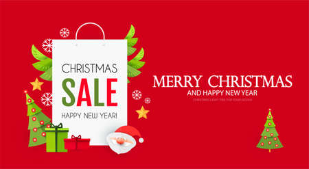 Christmas Sale design template with cute papercraft Santa Claus, shopping bag and holiday decoration