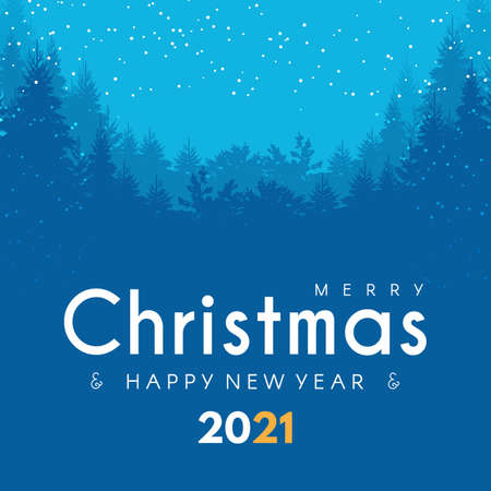 Merry Christmas and Happy New 2021 Year design template with fir trees and snow. Coniferous forest with lights