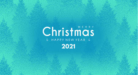 Merry Christmas and Happy New 2021 Year poster template on winter forest background Illusztráció