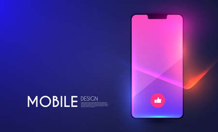 Smartphone Mockup. Realistic mobile phone display with light effect. Mobile phone template