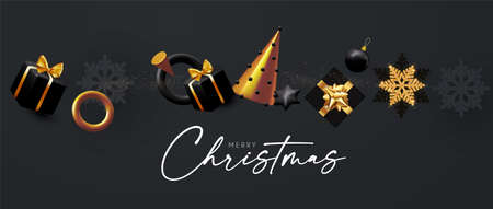 Happy New 2021 Year and Merry Christmas banner. 3D Xmas design with fir tree and gifts. Elegant black and gold render. Realistic party poster