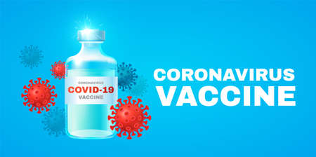 Coronavirus 2019-nCoV Vaccile. Stop Coronavirus design with realistic glossy medical syringe. Healthcare design Illusztráció