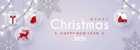 Merry Christmas and Happy New 2021 Year design template with glossy balls, light garland, snowflakes and nordic toys Illusztráció
