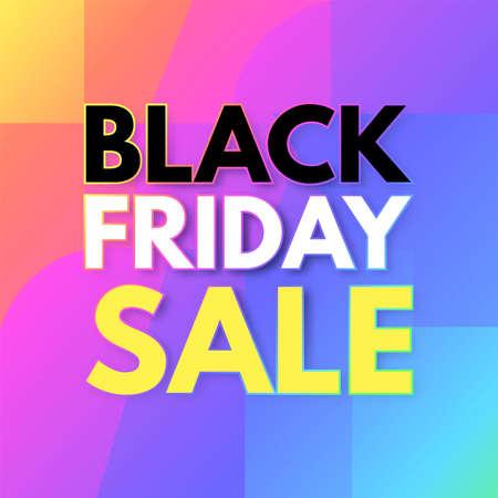 Black Friday Sale poster template. Super offer. 3D triangles and neon rainbow gradient effect Illusztráció