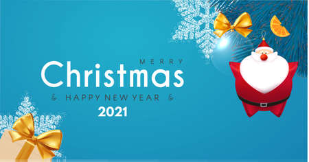 Merry Christmas and Happy New 2021 Year design template with 3D elements: Santa Claus, gifts, snowflakes, fir tree and balls