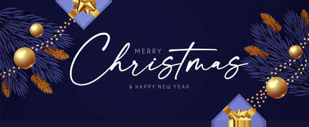 Merry Christmas design template with fir tree branch garland, glossy golden balls, elegant gold snowflakes