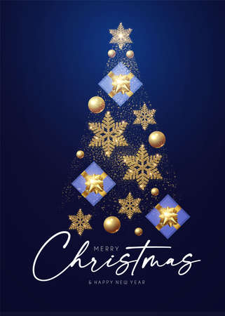 Christmas tree. Merry Christmas design template with gifts, glossy golden balls and elegant gold snowflakes